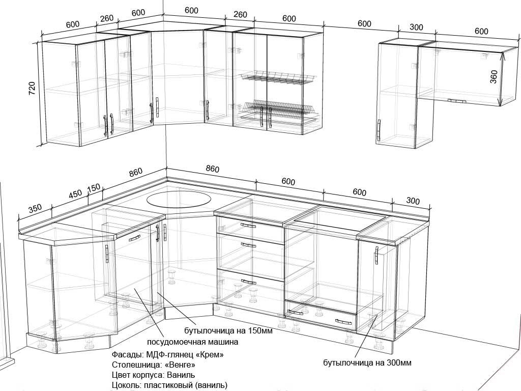 эскизы кухонь с размерами фото